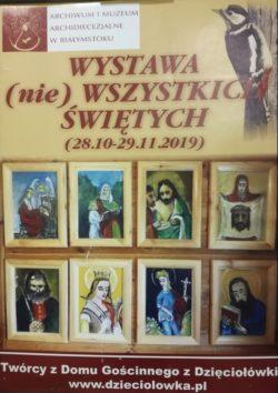 Plakat z wystawy. Napis wystawa nie wszystkich świętych. Pod napisem zdjęcia obrazów świętych.