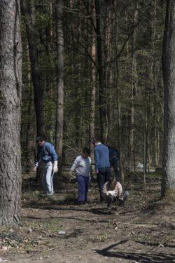 Pięc osób pośród drzew w lesie.
